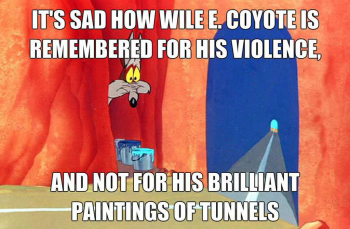 wile e. coyote, violence, brilliant paintings of tunnels, warner brothers, cartoon, meme