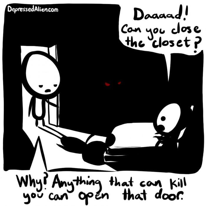comic, monsters, closet, kid, bad parenting
