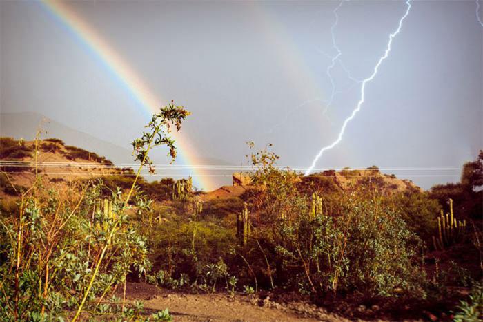 double rainbow, lightning, nature, weather
