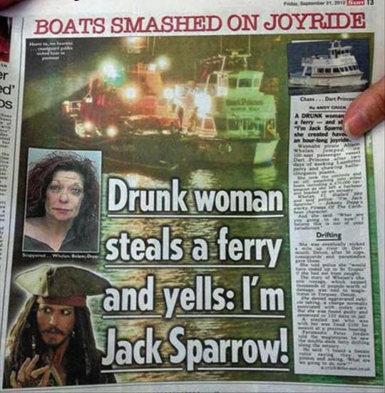 newspaper, steals a ferry, jack sparrow, lol, fail