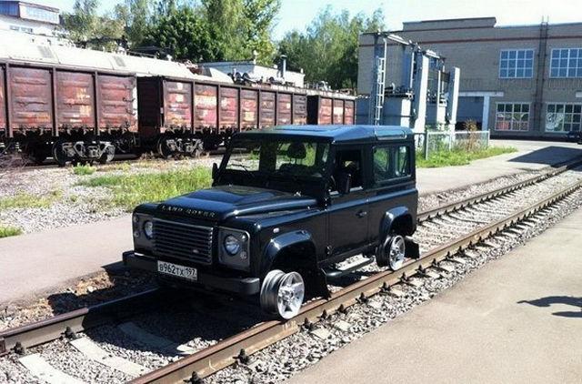 car, train tracks, modified