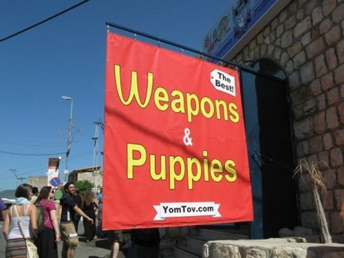 banner, sign, wtf, puppies, weapons