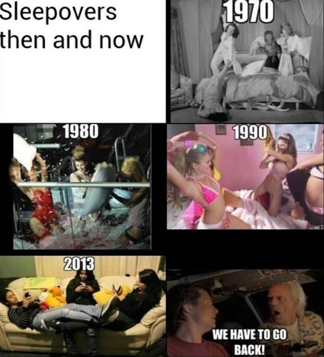 sleepovers, then and now, 1970, 1980, 1990, 2013, back to the future