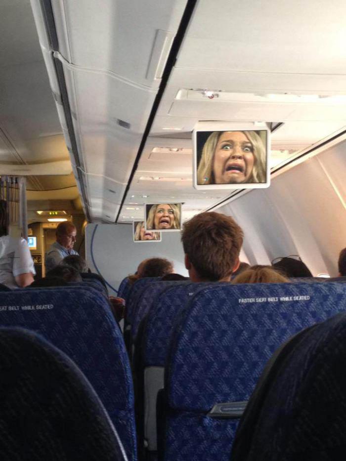 airplane, screen, freeze, awkward