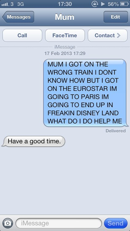 text message, iphone, parenting win, wrong train, lol