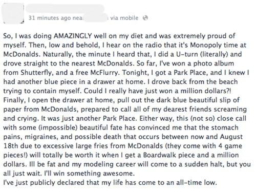 mcdonald's monopoly, diet, life, facebook status