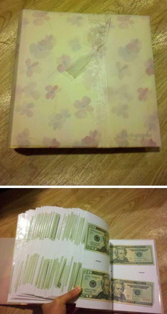 gift idea, photo album, money, twenty dollar bills