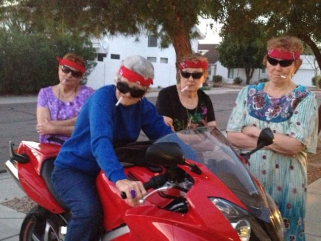 grandmother, elderly, bandana, cigarettes, motorcycle, bad ass