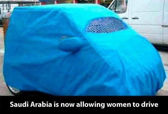car cover, joke, women, saudi arabia, hijab
