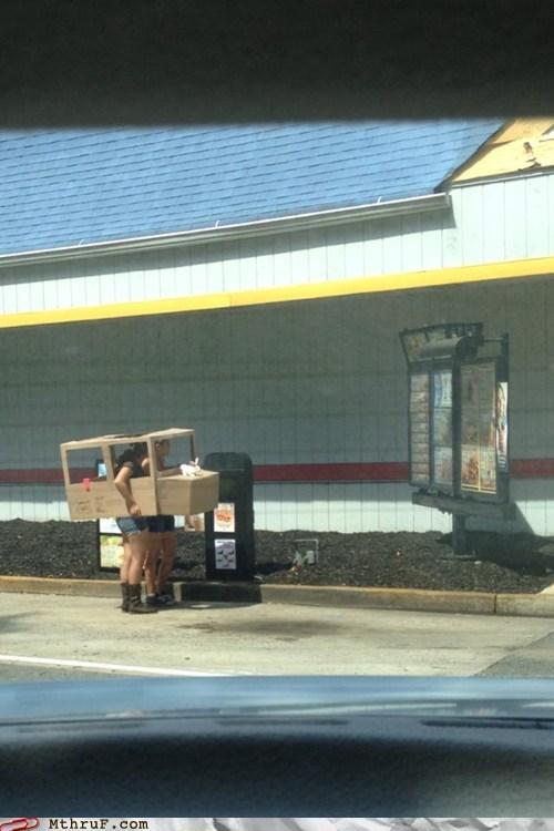 fast food, drive through, cardboard car, wtf, mcdonald