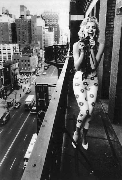 art, city, balcony, girl, black and white