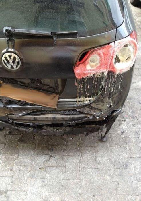 car, melt, rear light, brake lights, wtf