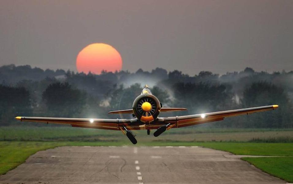 plane, sunrise, photograph, cool
