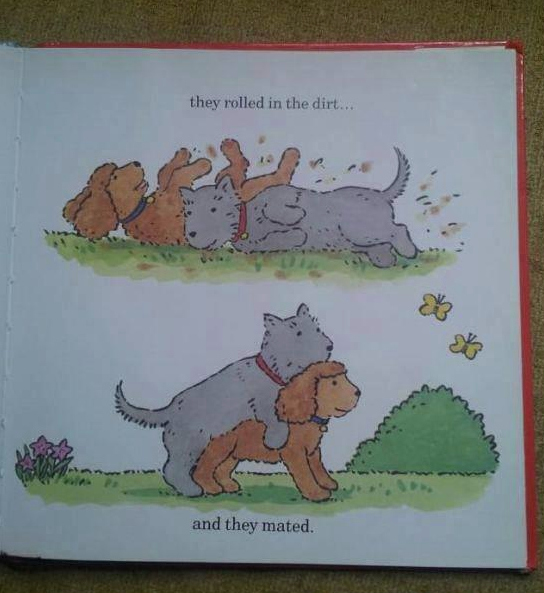 they rolled in the dirt and they mated, well that escalated quickly, children's book