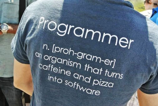 programmer, an organism that turns caffeine and pizza into software, tshirt