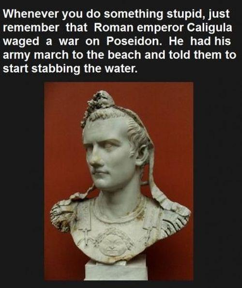 caligula, roman empire, emperor, stab water, poseidon