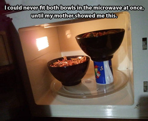 I could never fit both bowls in the microwave at once, until my mother showed me this, life hack