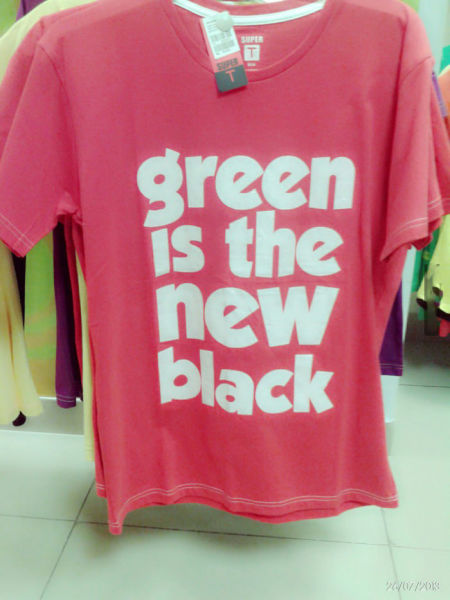 green is the new black, red, white, tshirt, wtf