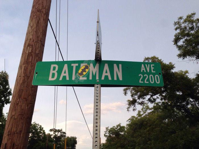 batman, bateman, street, road sign, name