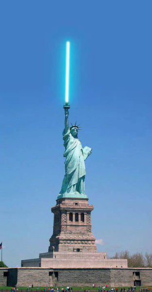 statue of liberty, photoshop, light saber, star wars