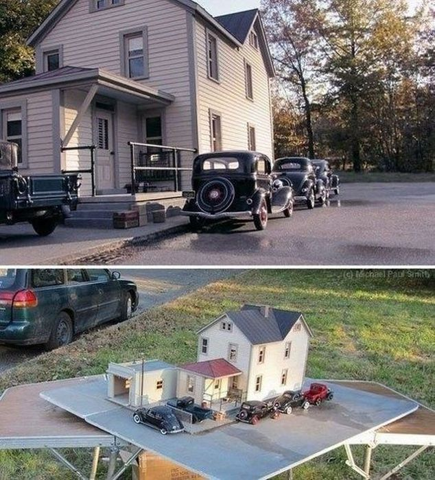 perspective, house, cars, miniatures