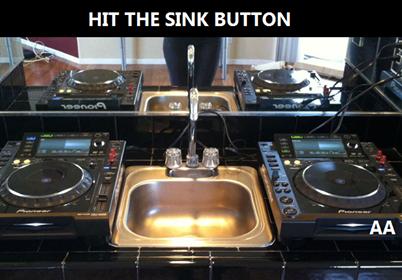 sink, cdjs, dj, turntables, kitchen