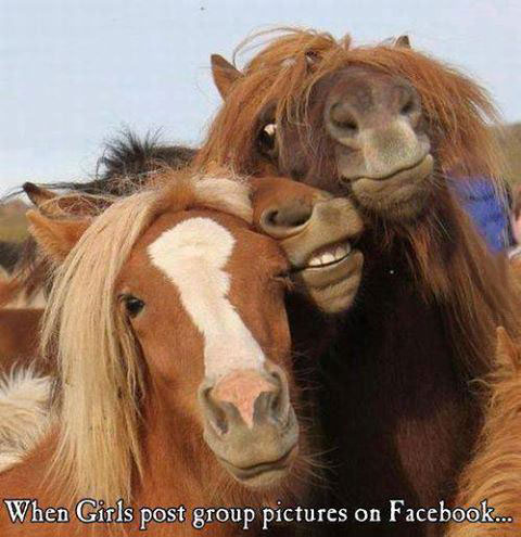 when girls post group pictures on facebook