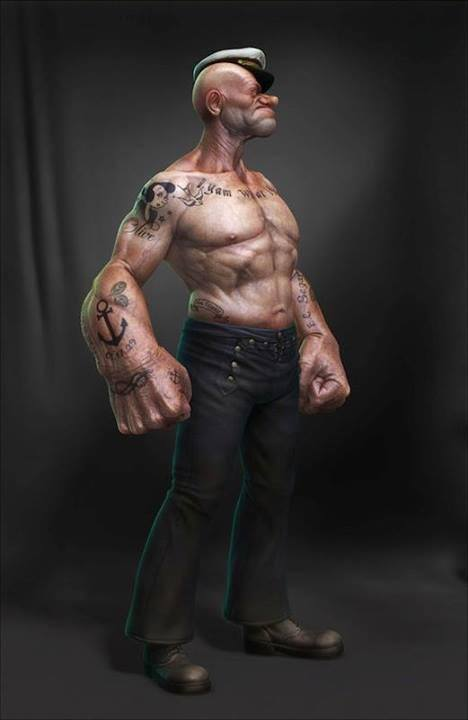popeye irl, cg, sailor man, cartoon