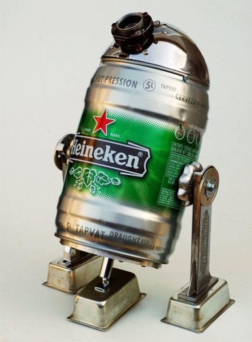 r2d2, star wars, heineken can, fan art