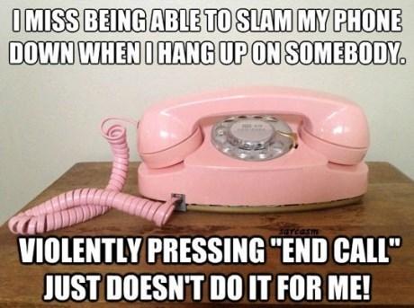 meme, pink telephone, slam, hang up