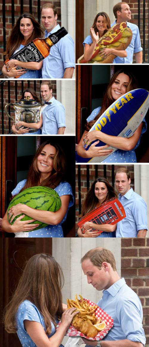 royal baby, photoshop, sandwich, watermelon, phone booth, fish'n'chips