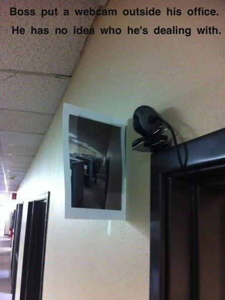work, security camera, troll, printed hallway, story, boss