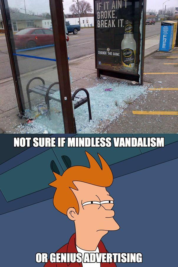 fry, futurama, advertising, break, shattered glass, bus stop