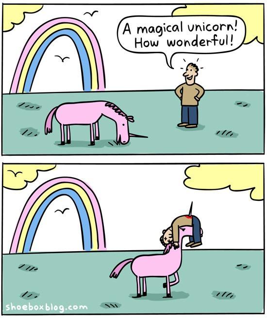 unicorn, magical, comic, dark