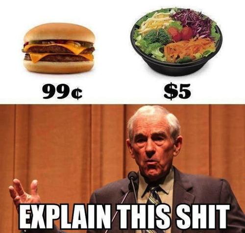 food, health, ron paul, hamburger, salad