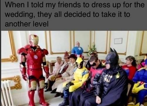 wedding, dress up, costume, super heros, story, lol