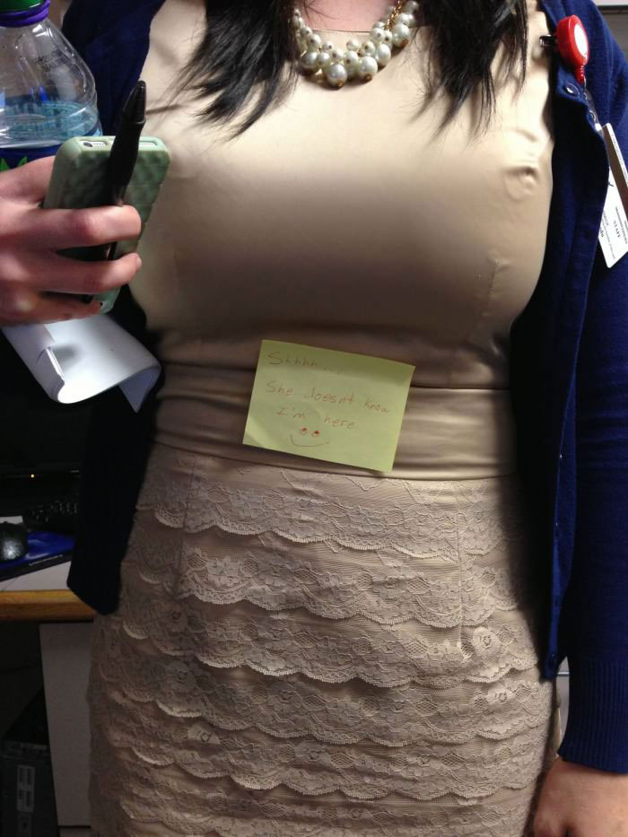 shhh she doesn't know I'm here, post it note below girl's boobs, troll