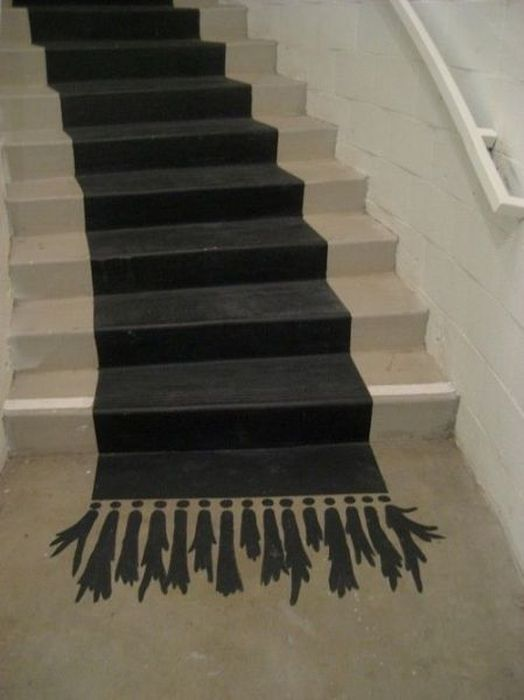carpet, stairs, paint, art