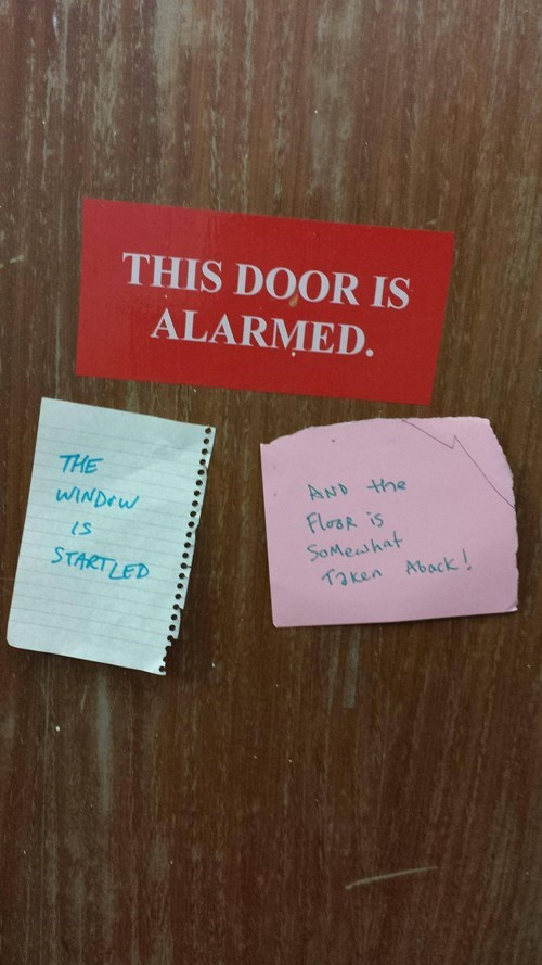 sign, door, floor, alarmed, startled, taken aback