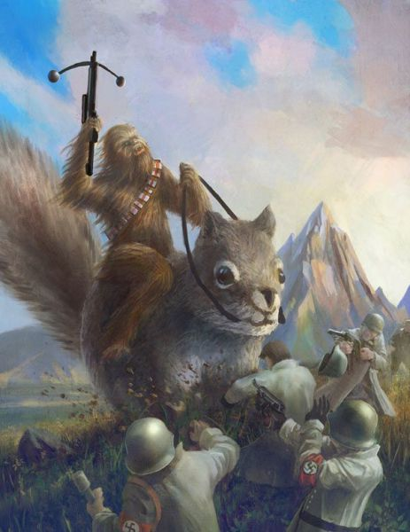 fan art, wtf, chewbaca, squirrel, nazis