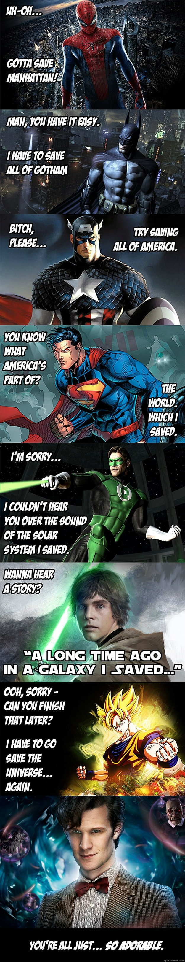 superheroes, saving, city, state, country, planet, solar system, galaxy, universe, time