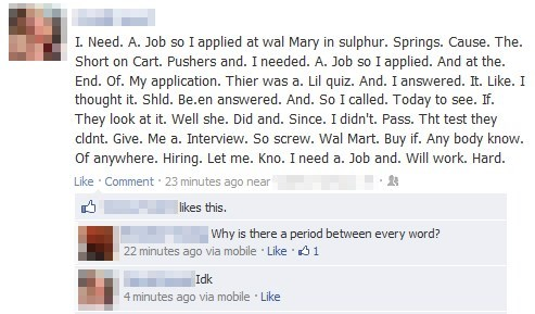 facebook, status, walmart, failed test, lol