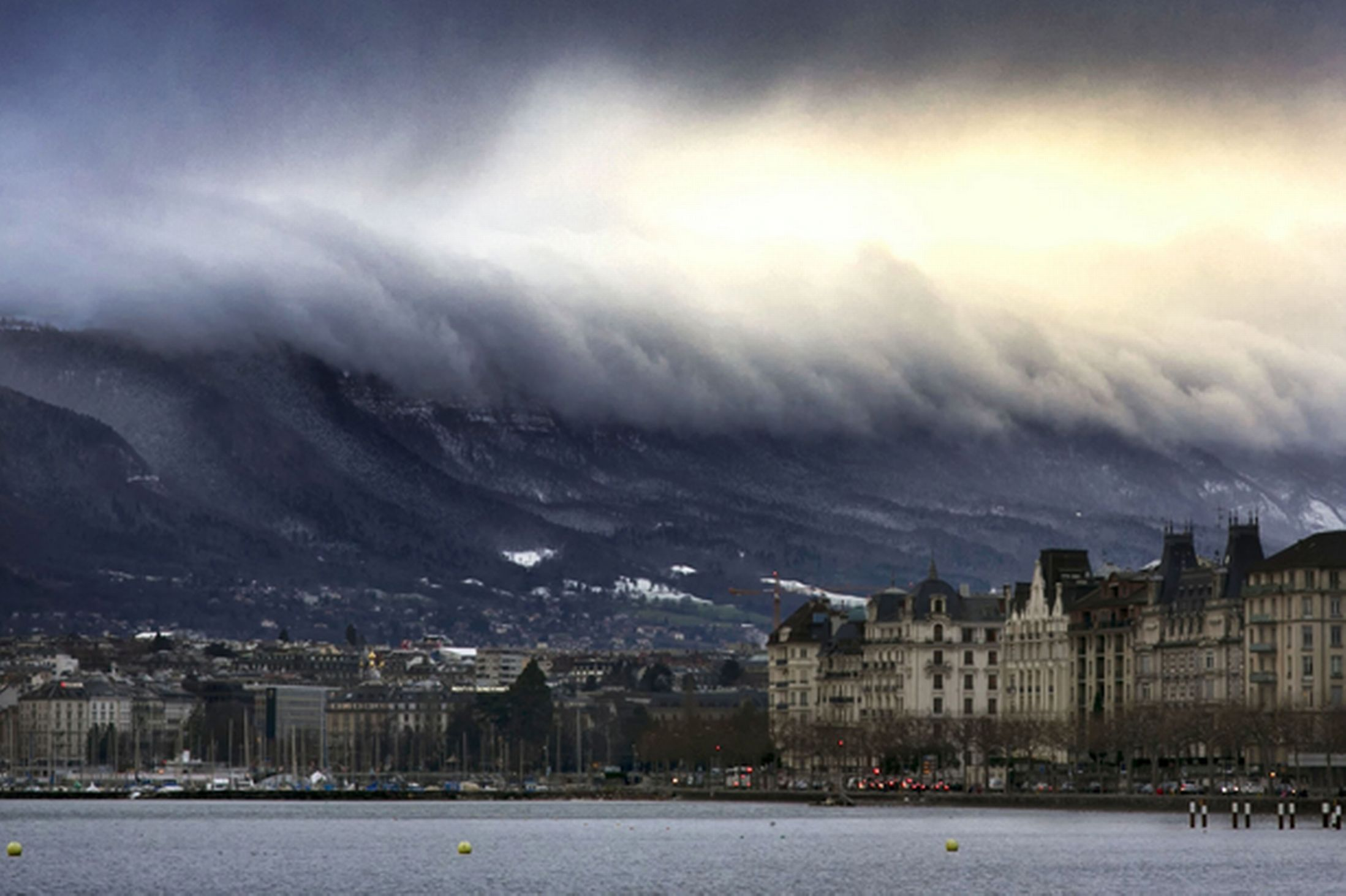 clouds, geneve, water, mountains