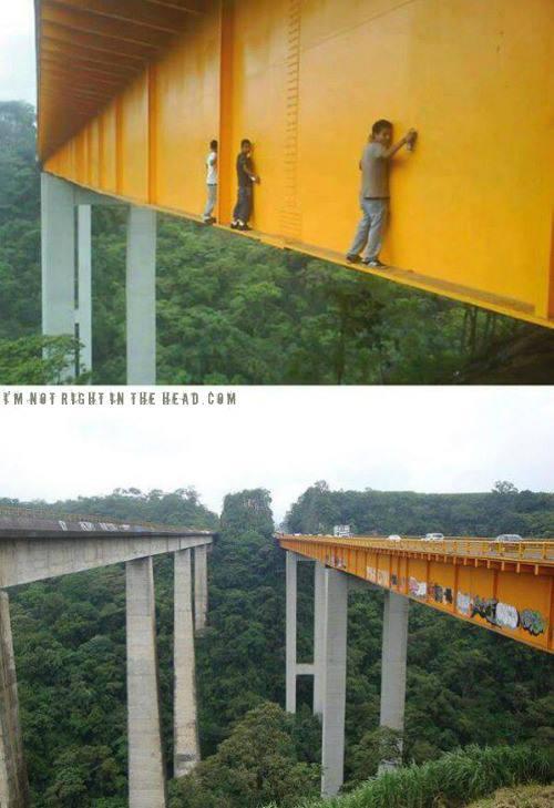 graffiti, bridge, dangerous, heights