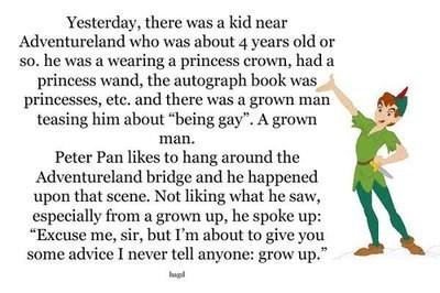 disney world, peter pan, kid, grow up