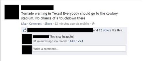 facebook, local sports team burn, tornado, texas, status, comment
