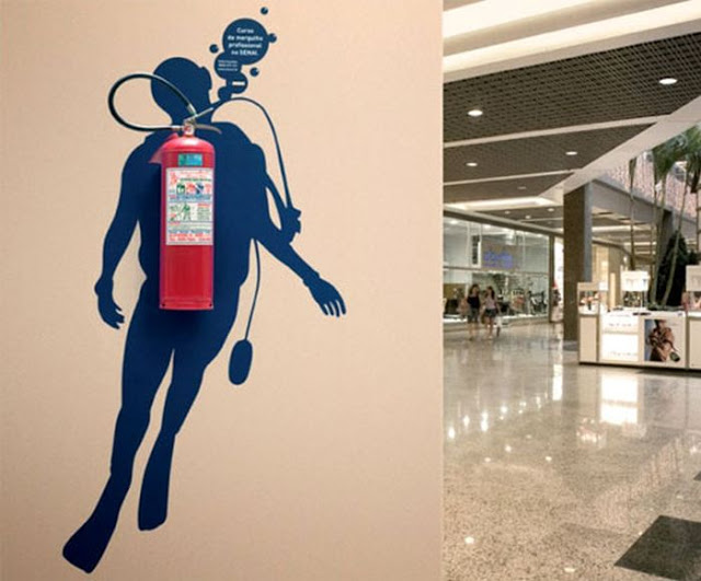 art, fire extinguisher, scuba diver, silhouette