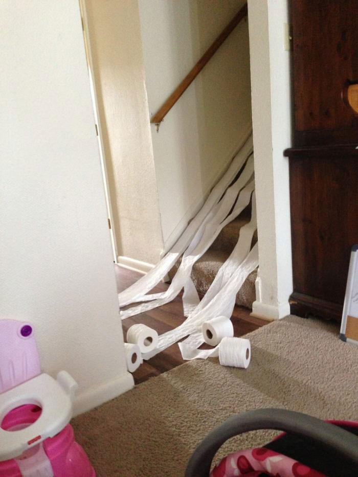 toilet paper rolls, stairs, children
