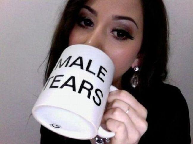 male tear, mug, girl