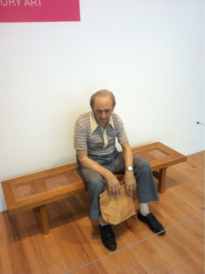 art, sculpture, real looking, man, bench, brown paper bag